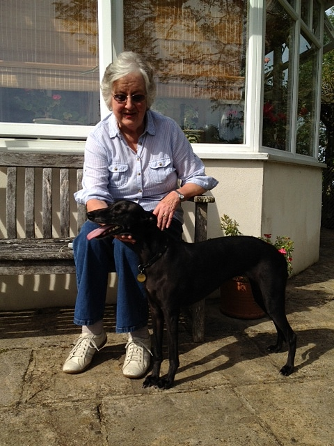 Jane Saunders and her whippet, Pip